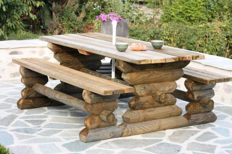 Table Picnic Bois Leclerc. Simple Jardin Salon De Jardin Metal Fresh ...