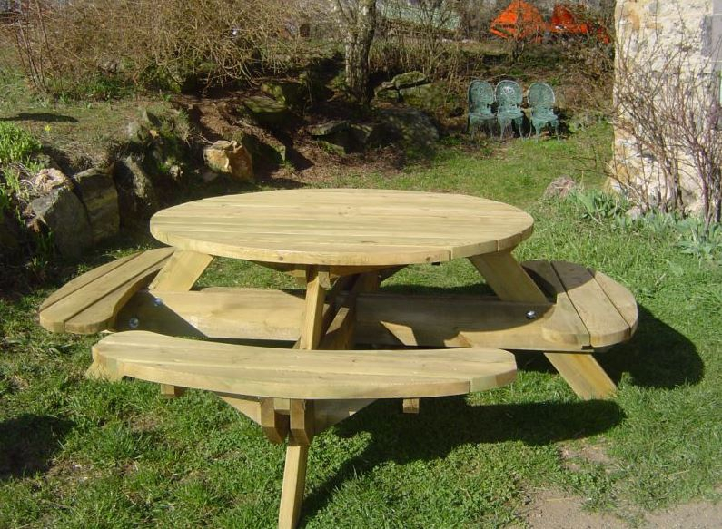 Table de pique nique en bois autoclav for Table et banc de jardin